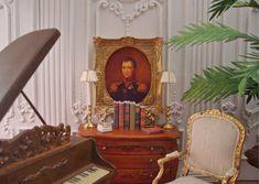 18th c. Antiqued Mini Portrait 1:12th Scale Miniature Dollhouse Framed Accessory
