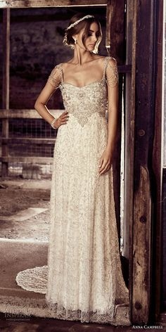 anna campbell 2018 bridal thin strap square neckline full embellishment glamorous soft a  line wedding dress open back sweep train (14) mv -- Anna Campbell 2018 Wedding Dresses