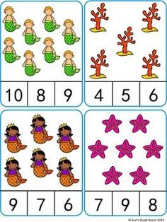 Count and Clip Cards: Mermaid (Numbers : Count and Clip Cards: Mermaid (Numbers Kindergarten Math Worksheets, Worksheets For Kids, Preschool Activities, Numbers Preschool, Preschool Learning, Teaching, Montessori Math, Math For Kids, Cards