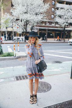 Boho Street Style Inspiration: Printed Mini Dress + Black Gladiator Sandals Spring Look #johnnywas