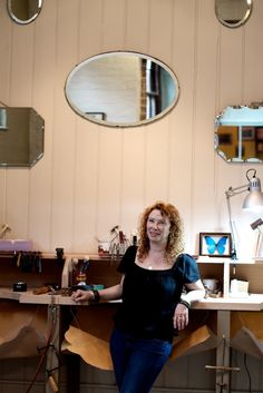Alexis Dove in her Lewes based workshops in Sussex.  #jewellery #handmade #sussex #wedding #engagement