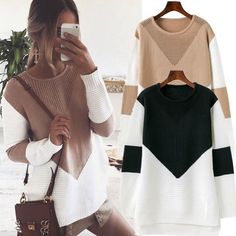 Casual Loose Long Sleeve Sweater Womens V-Neck Knitwear Pullover Jumper Tops