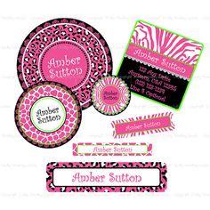 School Label Pack - 138 Kids Labels - Waterproof, Dishwasher Safe - Animal Prints in Bright Pink. $42.00, via Etsy.