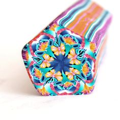 Blue pink and orange Kaleidoscope Polymer Clay by LyamayevaClay