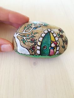 The Secret Garden OOAK hand painted stone signed and by Mammabook