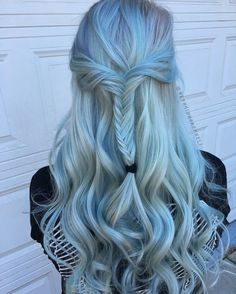 Blue Wigs Lace Hair Lace Frontal Wigs Affordable Human Hair Wigs Ruiyu Hair Blonde Hair With Blue And Purple Highlights Pastel Hair, Ombre Hair, Pastel Blue, Blonde Hair, Pretty Hairstyles, Wig Hairstyles, Affordable Human Hair Wigs, Pretty Hair Color, Lace Hair