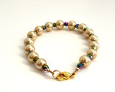 Crystal and Pearl Bracelet Mardi Gras Jewelry by JewelsbyTrish