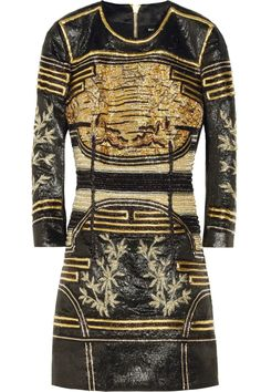 Balmain|Embellished metallic jacquard mini dress|NET-A-PORTER.COM