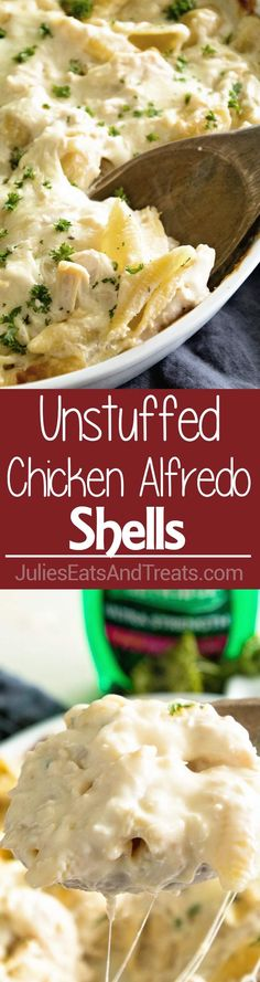Unstuffed Chicken Alfredo Shells ~ Creamy, Delicious Casserole with Layers of Garlic Alfredo Sauce, Pasta and Chicken! Save Yourself Time by Skipping the Stuffing of the Pasta! Perfect for a Weeknight Dinner! ~ http://www.julieseatsandtreats.com