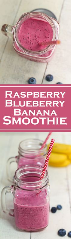 This Raspberry Blueberry Banana Smoothie is deliciously delightful especially when sipped through a straw.