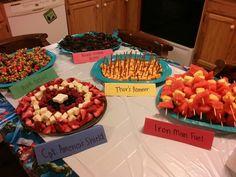 Fruit Platters - can use Captain America sheild idea & Iron Man Fuel Idea & Thor Hammer Idea & Black Widow Bites Idea