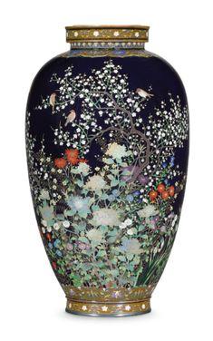 A Cloisonné Vase Signed Nagoya Nahahi. Pottery Painting Designs, Paint Designs, Japanese Vase, Nagoya, Victoria And Albert Museum, Japanese Beauty, Vases Decor, Chinese Art, Asian Art