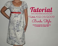 Vestido de verano talle imperio | EL BAÚL DE LAS COSTURERAS Empire Waist Summer Dresses, Sewing Tutorials, Sewing Projects, Sewing Ideas, Dress Patterns, Sewing Patterns, Diy Fashion, Short Sleeve Dresses, Clothes For Women