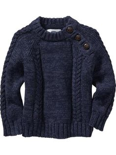 Cable-Knit Shoulder-Button Sweaters for Baby Product Image size 2T
