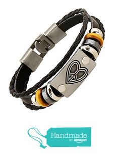 Peace Love & Happiness Handmade Leather Heart Bracelet from Zen Lovers - Unisex for Men or Women One-Size-Fits-All Silver Charm Winter Sale !! from Zen Lovers https://www.amazon.com/dp/B01MYS2L1O/ref=hnd_sw_r_pi_dp_VMNHybFTCQZ71 #handmadeatamazon