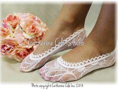 Lacy socks, sexy socks, wedding, bridal stretch lace, lace socks heels, peep socks, ALLURING LACE white stretch lace socks   FT0 1 pr.