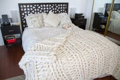The Original Giganto Blanket - Bespoke Home Decor - giant, hand-knit all-natural wool throw, huge knits made from wool roving, art piece Hand Knit Blanket, Chunky Blanket, Knitted Blankets, Wool Blanket, Crochet Throws, Crochet Afghans, Crochet Stitches, Giant Knitting, Crochet Mermaid Tail