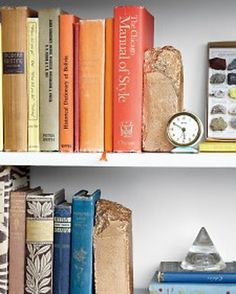 Gilded Bookends - these are made from chipped bricks!  Spray Paint Makeovers