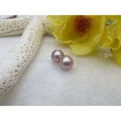 Freshwater Pearl Earrings, Large 8mm Mauve Freshwater Pearl Sterling... ($45) ❤ liked on Polyvore featuring jewelry, earrings, wrap earrings, sterling silver jewellery, birthstone earrings, birthstone jewelry and earring jewelry