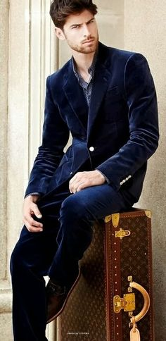 Mens Style | Men's Royal Blue Velvet Suit | Nice Men's Outfit for the Holidays | Smart Casual | Moda Masculina | Shop at designerclothingfans.com