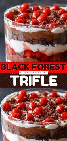 Are you having a summer party and in need of dessert? This black forest trifle is a stunner! It's a no-bake dessert so it is very easy to make - but it's crazy delicious! Consider this recipe to your menu! Easy No Bake Desserts, Summer Desserts, Summer Recipes, Delicious Desserts, Desserts With Few Ingredients, Trifle Recipe, Baking Recipes, Easy Recipes, Sweet Cherries