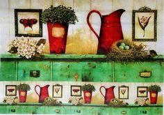 Rice Paper for Decoupage Scrapbooking Sheet Craft Vintage Jardin Green Kitchen