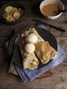 Crepe pancakes filled with caramel and bananas #food #recipes #breakfast