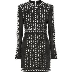 Balmain Studded suede mini dress (2.111.470 HUF) ❤ liked on Polyvore featuring dresses, form fitted dresses, zip dress, zipper mini dress, balmain and embellished mini dress