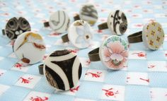 Handmade recycled ceramic rings