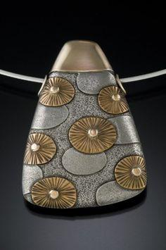 Pendant. Fine silver, 14K yellow gold, bronze, nickel.