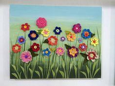 Jardim encantado - Tela em MDF, 40 x 50 cm, mixed media -  pintura em tela com flores de crochet -