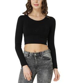 a3622922a62631 Bodywear Shop Damen Crop Top Langarm Shirt Rundhalsausschnitt bauchfrei  Schwarz