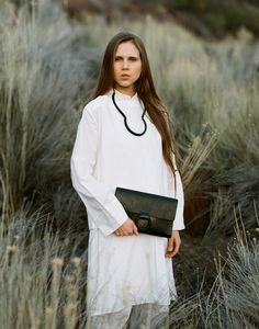 87353a2db402 crescioni freda necklace and mono clutch Neutral Outfit