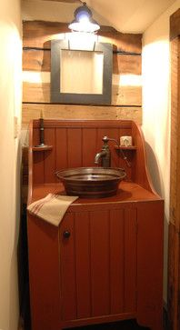 Central Kentucky Log Cabin Primitive Kitchen - I would love to know who makes this faucet and vessel sink. Or if the vessel sink is a reposed pot???? Anyone know???