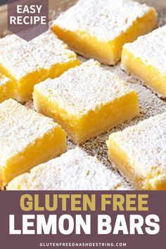 Easy Gluten Free Lemon Bars Need an easy dessert recipe to bring to a potluck or bake sale? These gluten free lemon bars are simply delightful and perfect for any occasion. Made with a scrumptious shortbread crust and refreshing lemon… Continue Reading → Cookies Sans Gluten, Dessert Sans Gluten, Bon Dessert, Gluten Free Sweets, Lemon Recipes Gluten Free, Gluten Free Deserts Easy, Fast Recipes, Gluten Free Bars, Healthy Lemon Desserts