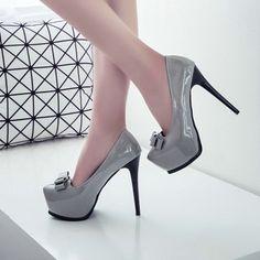 USD10.99Cheap Fashion Round Closed Toe Stiletto Super High Heel Grey PU Basic Pumps