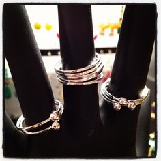 Just finished a few sterling silver stacking ring sets. Now to figure out how to show them off...