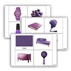 Livro de cor: roxo. Cada livro de cor inclui:  1carta com titulo  10 imagens