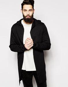 ASOS Super Longline Hooded Cardigan In Slub Fabric