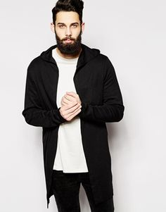 ASOS+Super+Longline+Hooded+Cardigan+In+Slub+Fabric