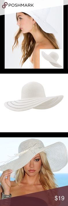 """Wide Brim Floppy Hat 🌺 Wide brim floppy straw hat in white featuring white mesh stripe accents. One size fits all. Measures 23.5"""" circumference around the head and a 16"""" wide brim around from front to back. Accessories Hats"""