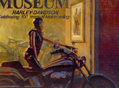 "Out for a ride on a mild summer evening, ""Jesse"" idles on her 2003 Deuce, and gazes into a motorcycle museum window. Like so many of us before her, she has been transported back to 1924, acknowledging the pioneer women who paved the way for generations to come. Is she picturing herself in the scarlet skirt and hat, or remembering stories told by her grandmother? Print comes framed with certificate of authenticity."