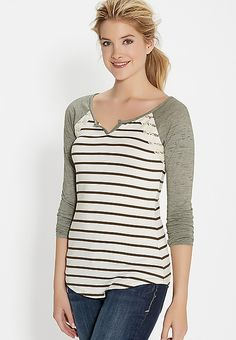 striped baseball tee with lace | maurices
