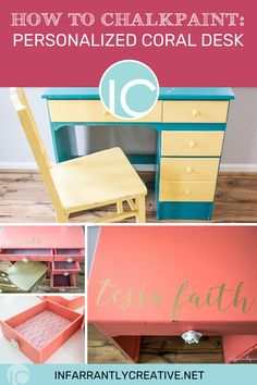 Learn how to customize any furniture using chalkpaint. It's back to school time and when a friend wanted to update a desk for her daughter. I jumped at the chance to chalkpaint an old desk and turn it into a pretty new desk. Diy Furniture Projects, Diy Wood Projects, Decorating Your Home, Diy Home Decor, Knock Off Decor, Furniture Painting Techniques, Diy Back To School, Easy Diy Crafts, Diy Home Improvement