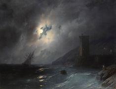 """Ivan Konstantinovič Ajvazovskij (Russian, 1817-1900), """"Лунный берег/Moonlit coast"""" (1864)"""