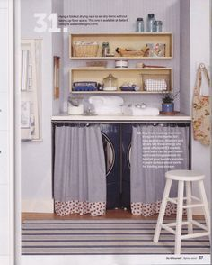 We're putting a laundry nook in the main bath upstairs, instead of a laundry room (since everyone will be doing their own laundry).  I absolutely love how this one feels!  This is from a Do It Yourself back issue. #farmhouse #laundry
