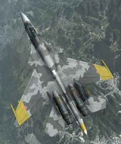 """is an experimental single-seat, supermaneuverable multirole jet fighter, designed by Sukhoi. A further development of the original """"Flanker"""", it was modified from the first-generation prototypes. Luftwaffe, Airplane Fighter, Fighter Aircraft, Military Jets, Military Aircraft, Air Fighter, Fighter Jets, Sukhoi Su 37, Russian Fighter"""