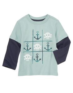Totally rad tic-tac-toe graphics with anchors and skulls amp up a soft tee.