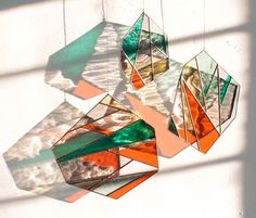 Bespoke Glass Elements are sets of stained glass pieces that are more flexible than your average stained glass window. The idea for the Elements Modern Stained Glass, Faux Stained Glass, Stained Glass Designs, Stained Glass Panels, Stained Glass Patterns, Stained Glass Crafts, Painting On Glass Windows, Glass Wall Art, Glass Birds