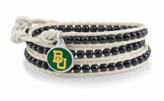 Baylor Bears jewelry and leather wrap bracelet is made with a 2 strand braided leather strap straddling a row of 4mm black onyx beads and our solid sterling silver enameled charm. $99